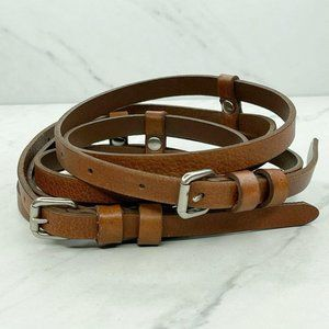 Lands' End Double Strap Brown Leather Belt Large